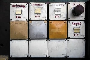"""Picture shows pannel of switches inside exhibition project """"ADN Guard House"""" in Berlin"""
