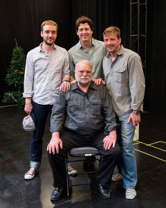 """Clockwise from top left: Cast members Frank Boyd, Gary Wilmes, Brian Slaten and Richard Riehle in rehearsal for """"Straight White Men,"""" written and directed by Young Jean Lee. """"Straight White Men"""" makes its West Coast premiere from November 20 through December 20, 2015, at the Kirk Douglas Theatre in collaboration with the Center for the Art of Performance at UCLA. For tickets and information, please visit CenterTheatreGroup.org or call (213) 628-2772. Contact: CTGMedia@CenterTheatreGroup.org / (213) 972-7376 Photo by Craig Schwartz"""