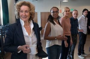 """L-R: Cast members Lisa Banes, Dinora Z. Walcott, Nora Kirkpatrick, director Neel Keller and cast member David Clayton Rogers in rehearsal for """"Women Laughing Alone With Salad."""" Written by Sheila Callaghan and directed by Keller, """"Women Laughing Alone With Salad"""" makes its West Coast premiere from March 6 through April 3, 2016, at the Kirk Douglas Theatre. For tickets and information, please visit CenterTheatreGroup.org or call (213) 628-2772. Contact: CTGMedia@CenterTheatreGroup.org / (213) 972-7376 Photo by Lawrence K. Ho."""