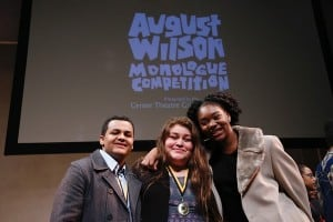 From left, Second place winner Samuel Christian, First place winner Damaris Vizvett and Third place winner Aryana Williams pose during the August Wilson Monologue Competition Los Angeles Regional Finals at Center Theatre Group/Mark Taper Forum on February 29, 2016, in Los Angeles, California. (Photo by Ryan Miller/Capture Imaging)