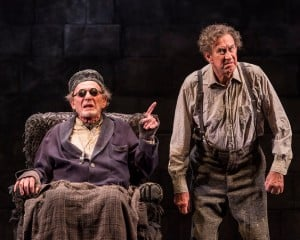 """L-R: Alan Mandell and Barry McGovern in """"Endgame."""" Written by Samuel Beckett and directed by Mandell, """"Endgame"""" plays through May 22, 2016, at Center Theatre Group's Kirk Douglas Theatre. For tickets and information, please visit CenterTheatreGroup.org or call (213) 628-2772. Contact: CTGMedia@CenterTheatreGroup.org / (213) 972-7376 Photo by Craig Schwartz."""