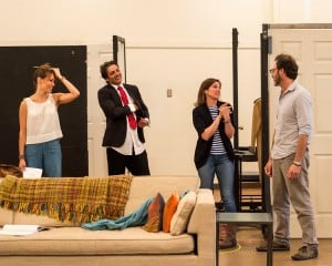 """L-R: Cast members Emily Swallow and Hari Dhillon, director Kimberly Senior and cast member J Anthony Crane in rehearsal for Ayad Akhtar's Pulitzer-winning play """"Disgraced,"""" which will be presented at the Center Theatre Group/Mark Taper Forum at the Los Angeles Music Center June 8 through July 17, 2016. For tickets and information, please visit CenterTheatreGroup.org or call (213) 628-2772.  Contact:  CTG Media and Communications/ (213) 972-7376/CTGMedia@ctgla.org Photo by Craig Schwartz."""