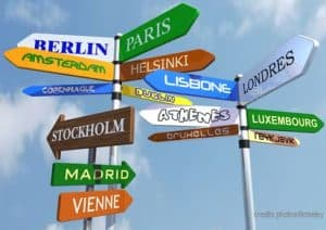 Amount of direction signs with europeans countries names.