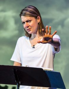 """Playwright/performer Lucy Alibar in """"Throw Me on the Burnpile and Light Me Up"""" (presented as a work in progress at the Kirk Douglas Theatre in 2015). Directed by Neel Keller, """"Throw Me on the Burnpile…"""" will have its world premiere September 10 through October 2, 2016, as part of Center Theatre Group/Kirk Douglas Theatre's 2016-2017 season. For season tickets and information, please visit CenterTheatreGroup.org or call (213) 972-4444. Contact: CTGMedia@CenterTheatreGroup.org / (213) 972-7376. Photo by Craig Schwartz."""