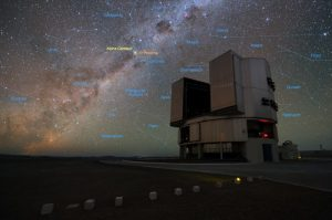 The foreground of this image shows ESO's Very Large Telescope (VLT) at the Paranal Observatory in Chile. The rich stellar backdrop to the picture includes the bright star Alpha Centauri, the closest stellar system to Earth. In late 2016 ESO signed an agreement with the Breakthrough Initiatives to adapt the VLT instrumentation to conduct a search for planets in the Alpha Centauri system. Such planets could be the targets for an eventual launch of miniature space probes by the Breakthrough Starshot Initiative.