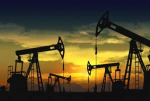 oil field and pump jack